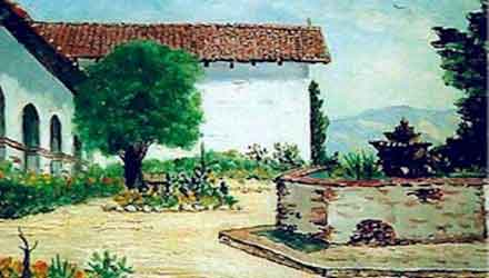 Mission San Miguel Courtyard, Painting by Anthony Quartuccio. More art available on Mission Arts Page